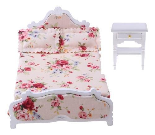 Juego de 1:12 miniatura cama doble floral de madera con