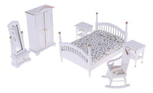 Juegos muebles en miniatura cama de madera gabinete