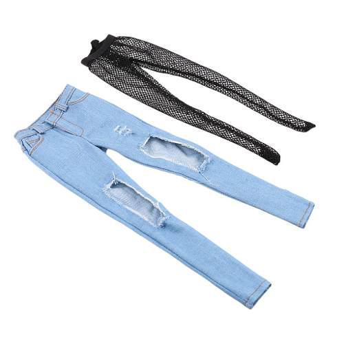 Miniatura 1/6 escala pantalones vaqueros rasgados ripped