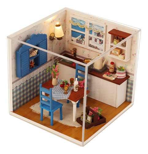 Miniatura casa de muñeca dulce con juguete kit de muebles
