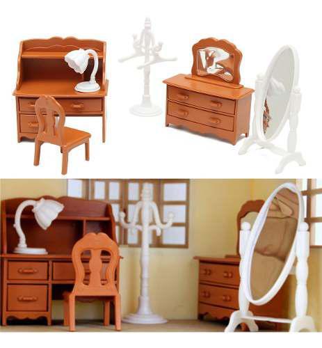 Miniatura sala tocador muebles conjuntos para mini niños