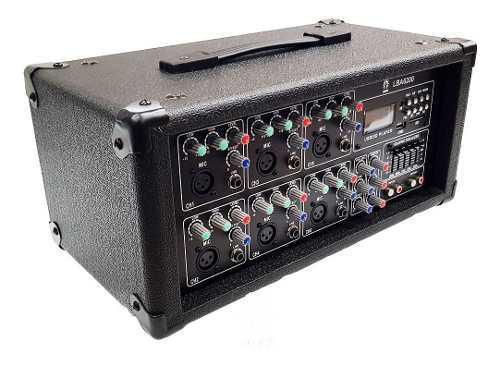 Mezcladora amplificada 6 canales, bt/usb/mp3 profesional