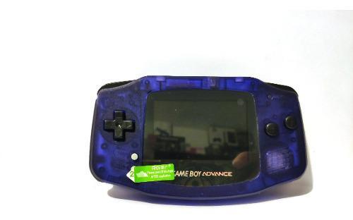 Gameboy advance retroiluminado morado trasparente.