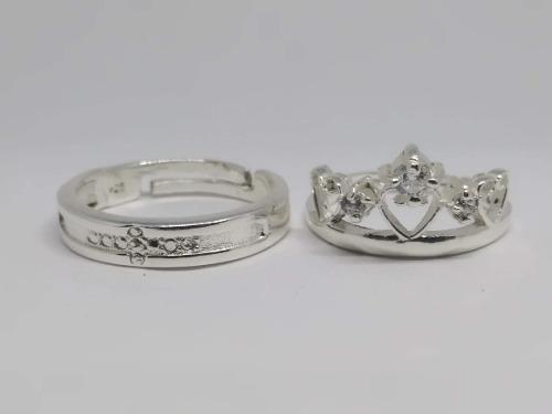 2 anillos promesa plata 925 amor pareja corona enamorados