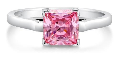 Anillo con diamante cultivado rosa princess 50 pts. 14k.