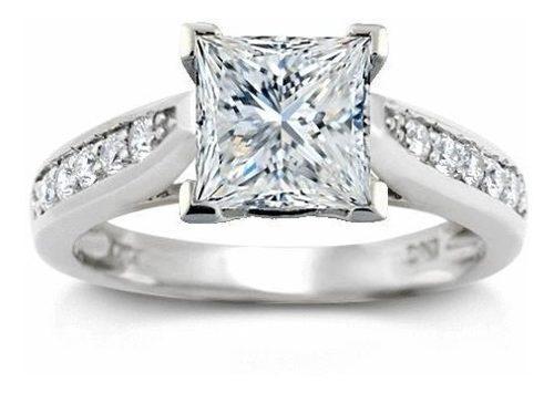 Anillo de compromiso con diamante princess 100 pts