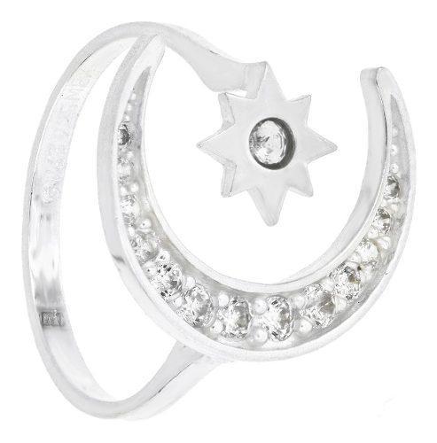 Anillo mujer arabe luna y estrella circonio ajustable plata