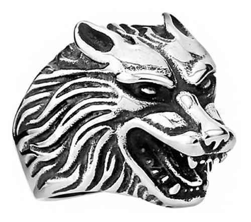Anillo thot ra figura de lobo plateado con negro acero e-068
