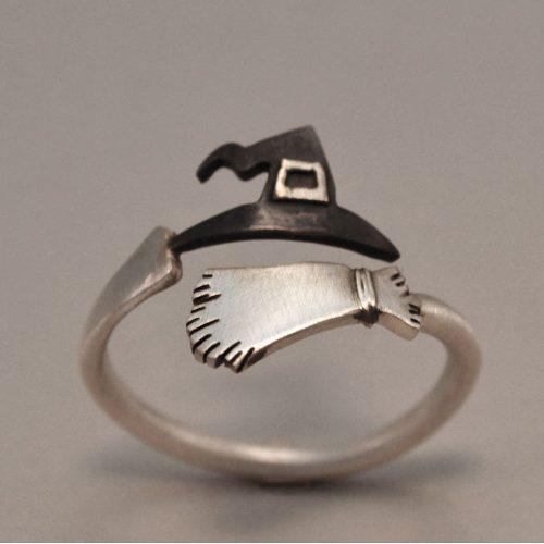 Lindo halloween fantasma bruja escoba dedo anillo abierto an