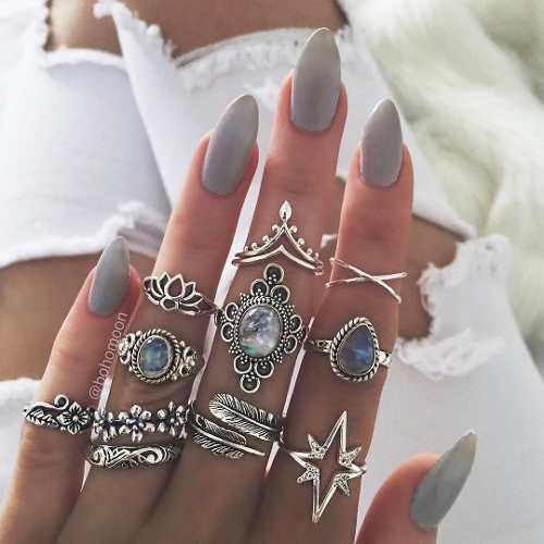 Set de 11 anillos para mujer vintage hoja tribe piedra azul