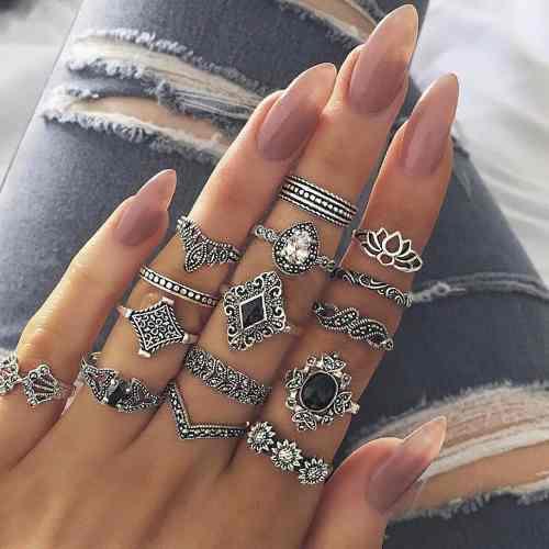 Set de 15 anillos para mujer vintage tribe adornos increible
