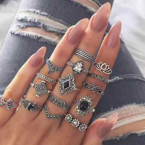Set de 15 anillos para mujer vintage tribe adornos negros