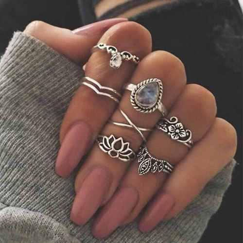 Set de 7 anillos color plateado vintage para mujer hermosos