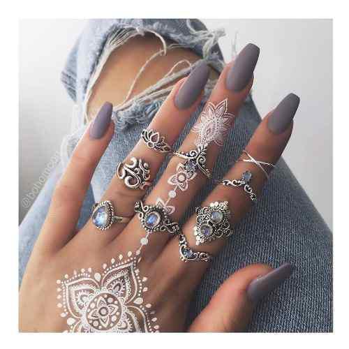 Set de 9 anillos piedra azul para mujer vintage tribe fhasio