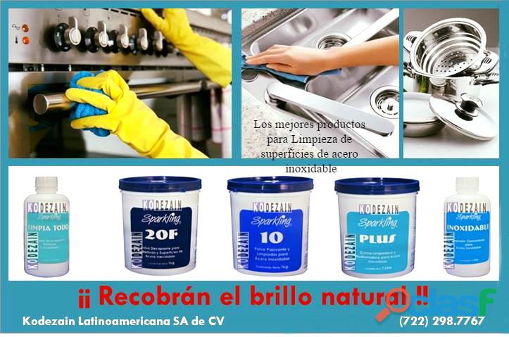 Sparkling productos para la limpieza del acero inoxidable y aluminio.
