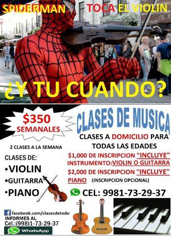 Clases a domicilio de: violin, guitarra y piano *clases para