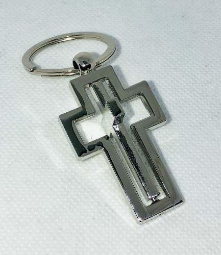 24 llaveros cruz giratorio cajita negra 8 cm recuerdos misas
