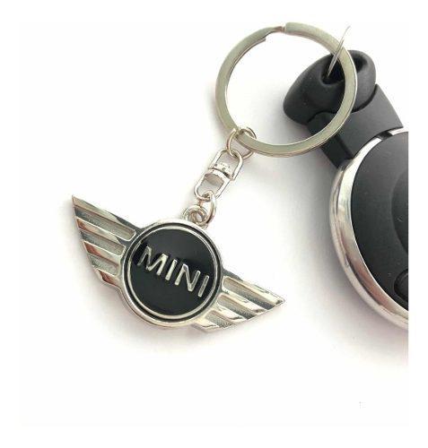 Llavero mini cooper plata negro acero inoxidable accesorio