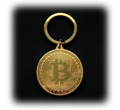 Llavero moneda bitcoin color plata y dorado colección