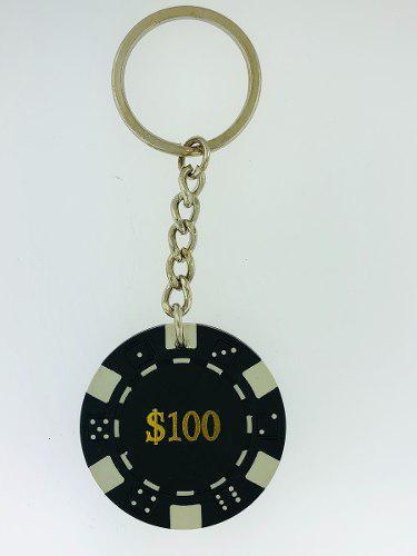 Llaveros las vegas 6 piezas fichas poker 100 casino negras