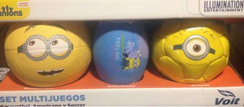 3x mini balones minions (basket, futbol americano y soccer)