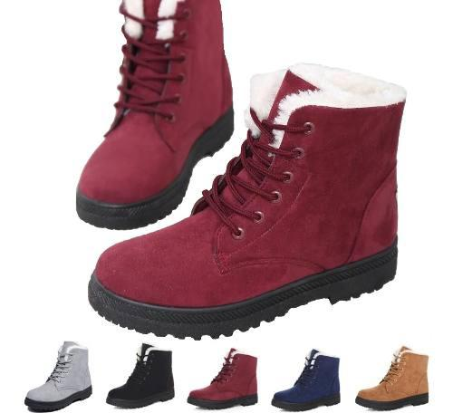 Botas cortas de nieve de piel sintética para las mujeres
