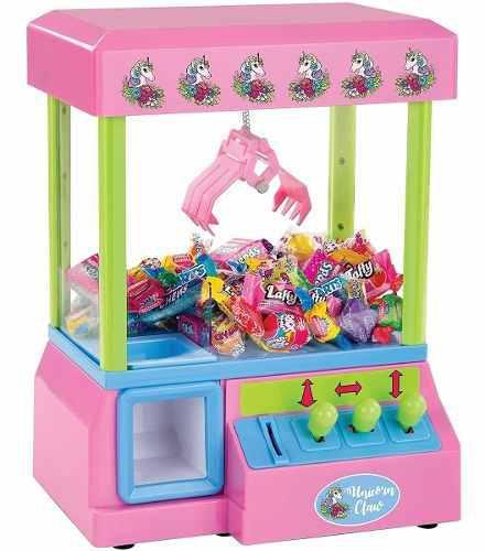 Divertida maquina grúa atrapa peluches rosa de unicornio