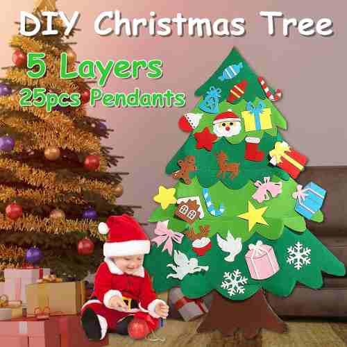 5 capas 100x70cm diy fieltro árbol de navidad con adornos