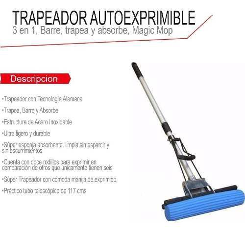 Mop trapeador exprimible ajustable barre seca trapea facil