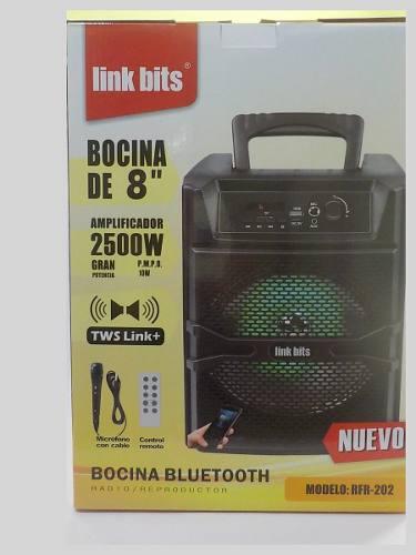 Bocina recargable amplificador potente 1500w 8 pulgadas