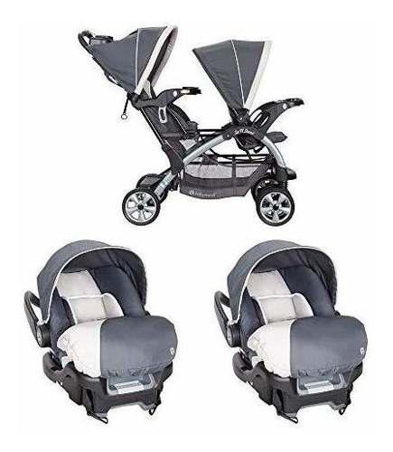 Baby trend carriola doble gemelos 2 portabebes + base para