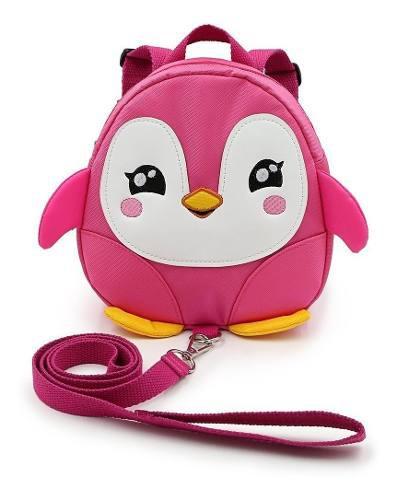 Mochila arnes bebes niños con correa pingüino rosa