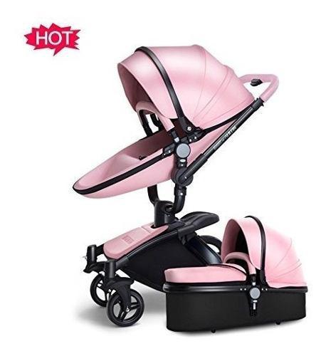 Nueva carriola bebe europea de piel 360 rosa no hot mom s/i