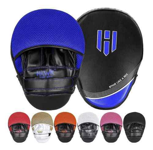 Par de manoplas mitts hawk box mma muay thai kick boxing blu