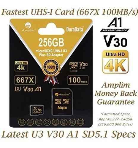 256 gb micro sd sdxc v30 a1 tarjeta de memoria plus paquete