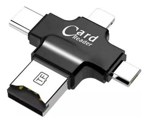 Adaptador otg 4en1 micro usb tipo c memoria tf tarjeta lecto