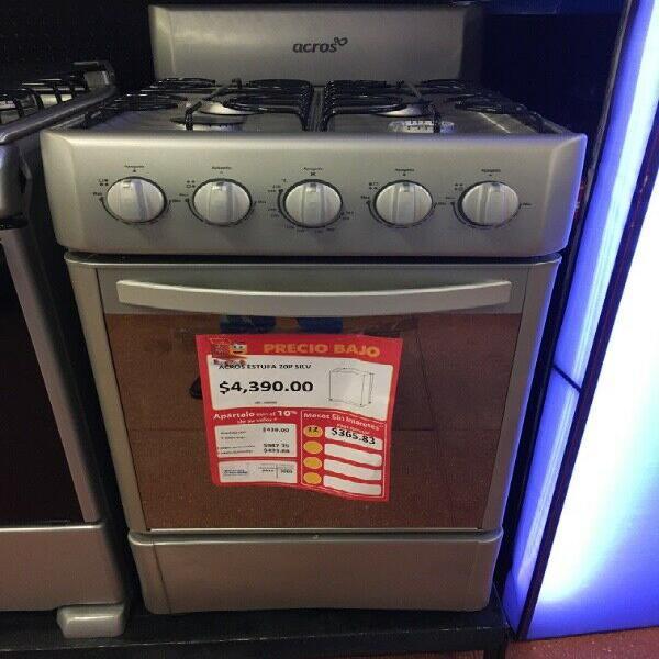 Estufa mabe, color plata. 4 quemadores y horno.