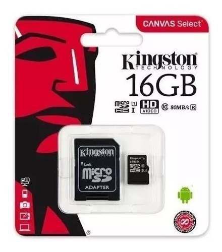 Lote 10 memorias micro sd 16gb clase 10 80mb/s kingston