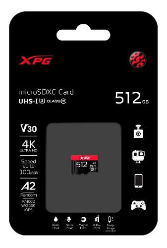 Memoria micro sd 512 gb gaming a2 100/85mps v30 4k uhd adata