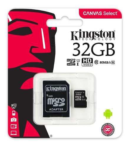 Memoria micro sd kingston 32 gb / clase 10 / 80mb/s factura