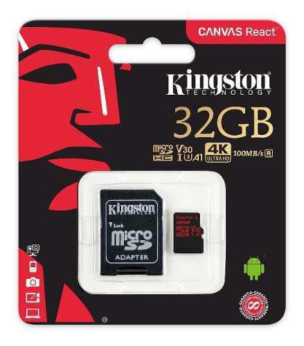 Memoria micro sd kingston alta velocidad 32gb clase 10 u3 4k