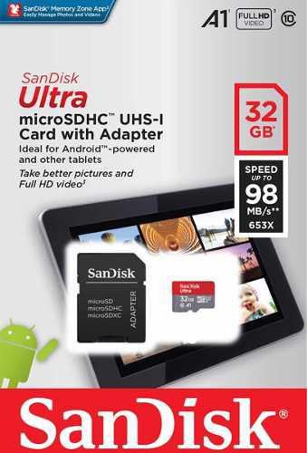 Micro Sd Sandisk Ultra 32gb Clase 10 A1 98mb/s Tienda Oficia