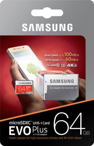 Samsung 64gb evo plus micro sd(sdxc) uhs-i u3 4k 90/60mb