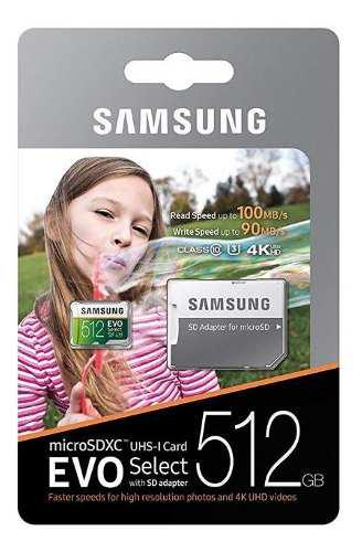 Samsung evo select memoria micro sd 512 gb clase 10 uhs 3