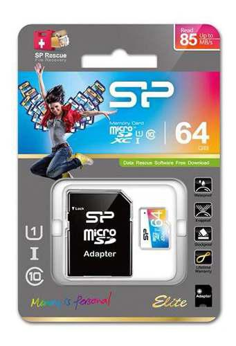 Silicon power micro sd 64gb clase 10 uhs-1 sd elite color