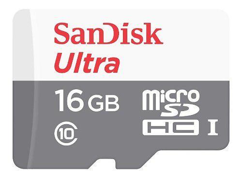 Tarjeta de memoria micro sd 16gb clase 10 sandisk 80mb/s
