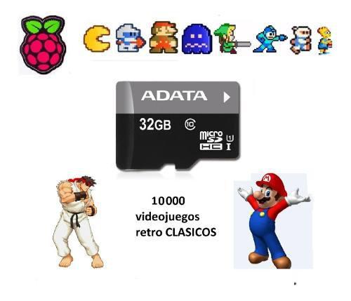 Tarjeta micro sd 32gb para miniconsola 10mil juegos