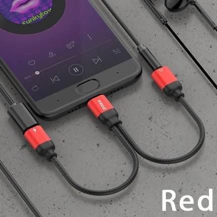 Cable adaptador usb tipo c 2 en 1 audio y carga jack3.5mm