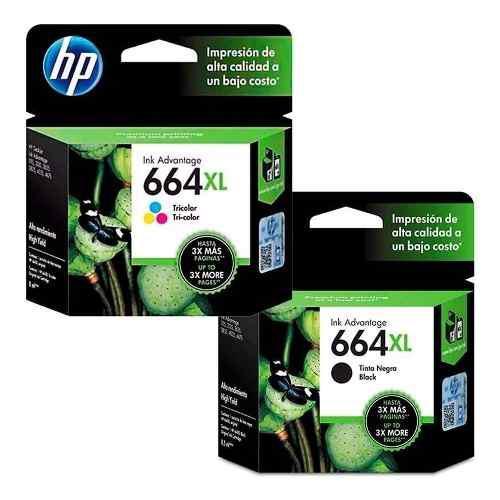 Cartucho tinta original hp 664 xl dual pack negro y color
