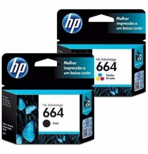 Kit pack 2 cartuchos tinta hp 664 originales negro tricolor